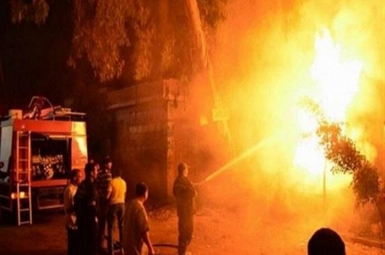 حريق هائل في شونة قش أمام مدرسة إعدادية بالشرقية