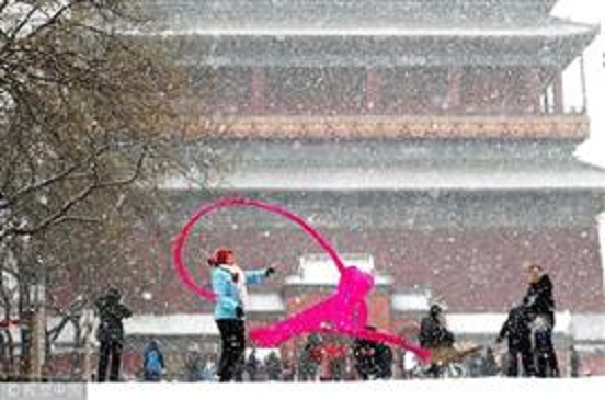 تساقط الثلوج فى مدينة بكين