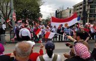 استقبال حافل من الجالية المصرية للرئيس السيسي أمام مقر إقامته في واشنطن